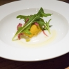 The antipasto prepared by Ugo Alciati and Denny Imbroisi: Pumpkin Gnocco with Grana Padano foam