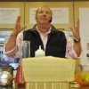 Mario Batali explaining his Goat Cheese Gnudi with Tomato Soup