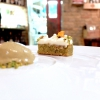 We finish with a celebration of real pistachios from Bronte: as sauce, gelato and biscuit, with white moscato and yogurt