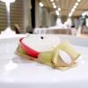 Apple, cinnamon and caramel:slices of apple, apple mousse, apple coulis, cinnamon biscuit, caramel mousse