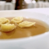 ...Tortellini in a broth of capon, royal with morels. The broth is perfect. And so are the tortellini