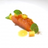Trout from Sila, peach, liquorice and mint