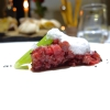 Steak tartare with thigh of podolica meat, wild anise, foam of beer and celery