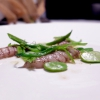 Squilla mantis, pea pods, French beans and broad beans: a play on minerality