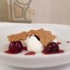 Yogurt, cherries, cherry extract and barolo chinato, walnut brittle