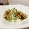 Fusilloni di Gragnano cooked in pea water, cream of pecorino, powdered tomato and crispy peppers