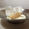 Peach sorbet with lime, vodka, cream of limoncello and mint meringue