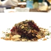 Winter duck with furikake, its jus, grilled beetroot, liver with crispy cocoa chips