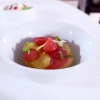 Pomod'oro, again: yellow and red date tomatoes, whole wheat frisella with tomato confit and water from six types of tomato
