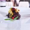Sweetbreads in elderberry civet, ovoli and gallinacci salad, blackberries