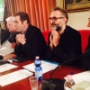 Right to left, Davide Rampello and Massimo Bottura, this morning in cardinal Angelo Scola's (fourth from the right) Archdiocese in Milan presenting the Refettorio Ambrosiano project, a permanent kitchen which in May 2015 will feed students and poor people in the theatre beside the San Martino parish church, in Greco, a neighbourhood in the suburbs of Milan. Every day, a different chef will cook: from Ferran Adrià to Renè Redzepi, from Alain Ducasse to Gualtiero Marchesi
