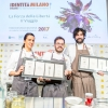 """RICCARDO GASPARI with OLIVER PIRAS and ALESSANDRA DEL FAVEROThe """"trip"""" of milk – In the El Brite de Larietoagritourism Gaspari matches fine dining with the raw materials from the family farm"""
