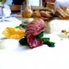 Merluzzo, ricciola e totanetti con spuma di patate e tarallo di Agerola