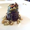 Burnt wheat spaghetti with garlic oil and chilli pepper, sea snails, fried nori seaweed and sea urchin granita. Genovese still has an undeserved fame for being cryptic but in this case he screams loud and clear through the full yet elegant, mellow yet round flavours. It is both comfort food and a very elegant course: a mature strike