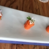 The Carte Blanche tasting menu at Mirazur starts with 8 small tastings that you can enjoy downstairs, close to the kitchen. Tasting #1: Carrot cooked in lime with carrot juice and coriander
