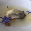 Gillardeau oyster with a cream of shallot and Williams pear