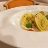 Aubergine tortelli, peppers and burrata, powdered coffee