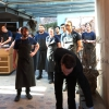 The usual ritual: a welcome from the entire staff, led by Rene Redzepi