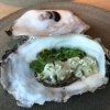 Giga Oyster, a huge oyster from the Pacific, quickly steamed and garnished with pickles. Noma only reserved one thousand of these. In the menu until available