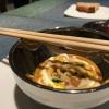 Three dishes presenting suquet, a typical fish sauce. Noodles de espardeñas (in taxonomy stichopus regalis) en suquet