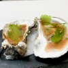 Ostra con holandesa de garum, oyster with hollandaise sauce with garum. A very elegant dish