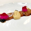 Cartílago, trufa y altramuces, cartilage, truffle and lupins. The cartilage is from pigs, there's the demi-glace, plus lupins and a spherification of truffle