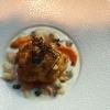 Cauliflower with almond milk sauce, yuzu juice and seafood
