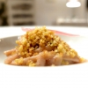 Stroncatura pasta, lightly smoked onion from Tropea, lemon leaves, anchovies from Sciacca and crispy bread