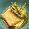 Blue tailed fish lasagne with wild fennel and saffron